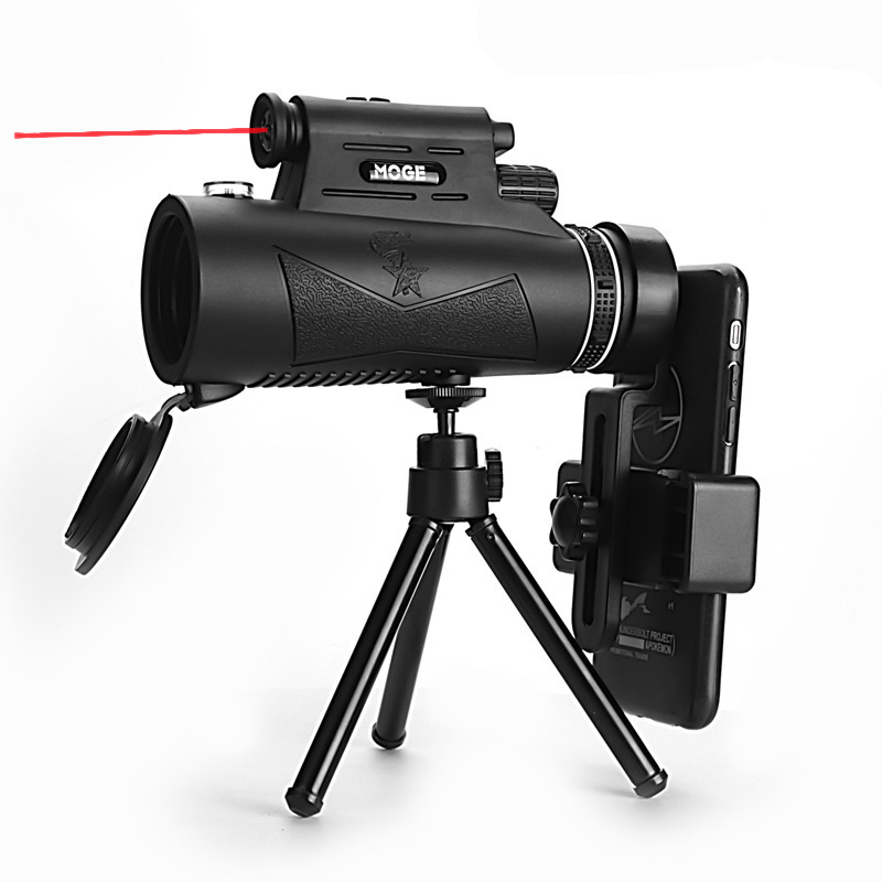 Moge 12X50 HD Telescope with Laser Flashlight Phone Adapter Tripod for Outdoor Camping Travel High Power Bird Watching