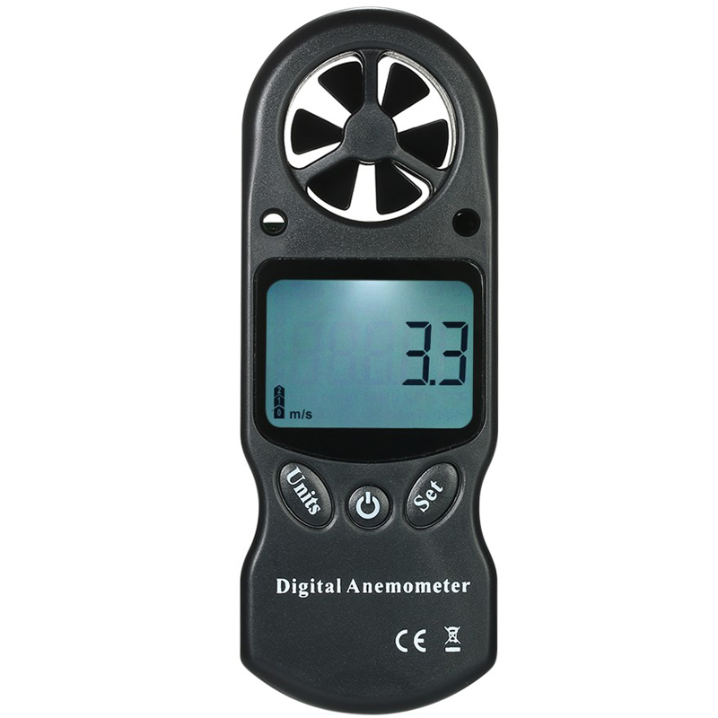 8 in 1 Handheld Digital Anemometer Wind Speed Temperature Humidity Tester Wind Chill Heat Index Dew Point Barometric Pressure Altitude Meter with LCD Backlight
