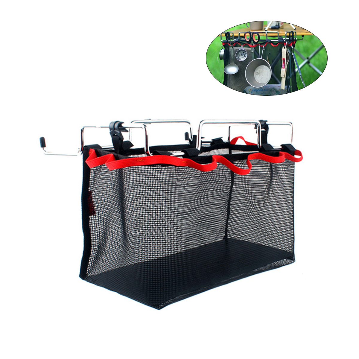 Campleader Outdoor Picnic Camping Storage Net Bag Stuff Storage Mesh Pack Kitchen Portable Folding Table Hanging Net