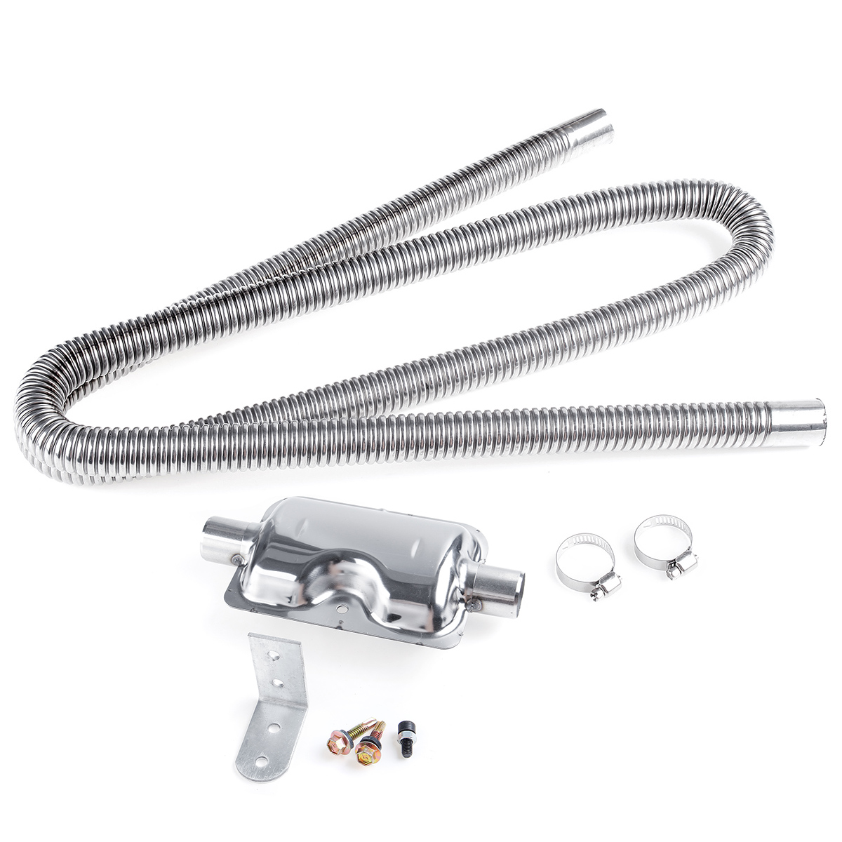 180Cm Stainless Exhaust Muffler Silencer Clamps Bracket Gas Vent Hose for Air Diesels Car Heater Kit