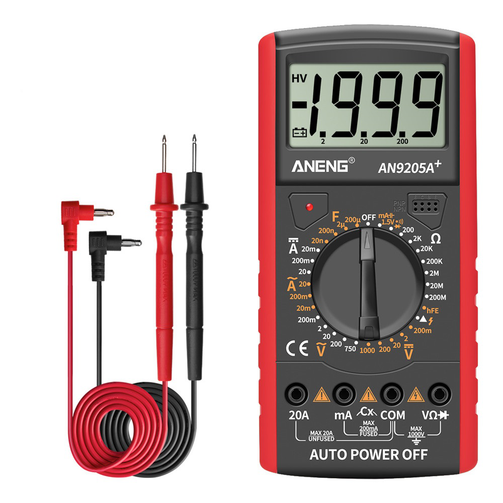 ANENG AN9205A+ Digital Multimeter Resistance Diode Continuity Tester AC/DC Voltage Current Meter Red