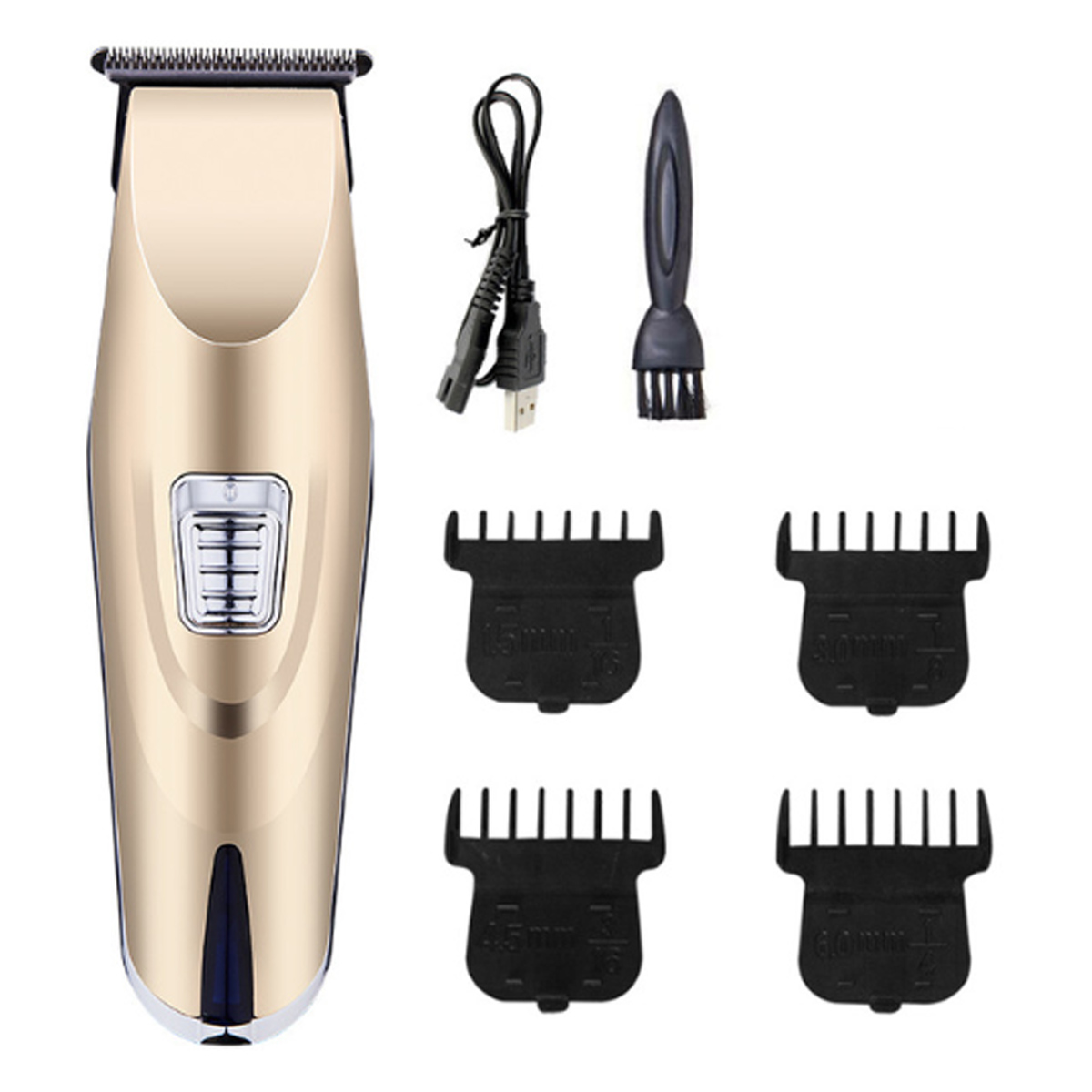 USB Rechargeable Electric Clipper Shaving Head Fader Bald Hair Clipper Black/Gold