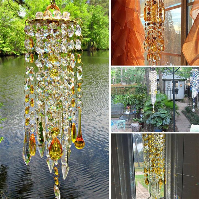 Yellow White Crystal Wind Chimes Extended Version Free Cleaning Fuss-Free Assembly Wind Chimes for Garden Patio Lawn