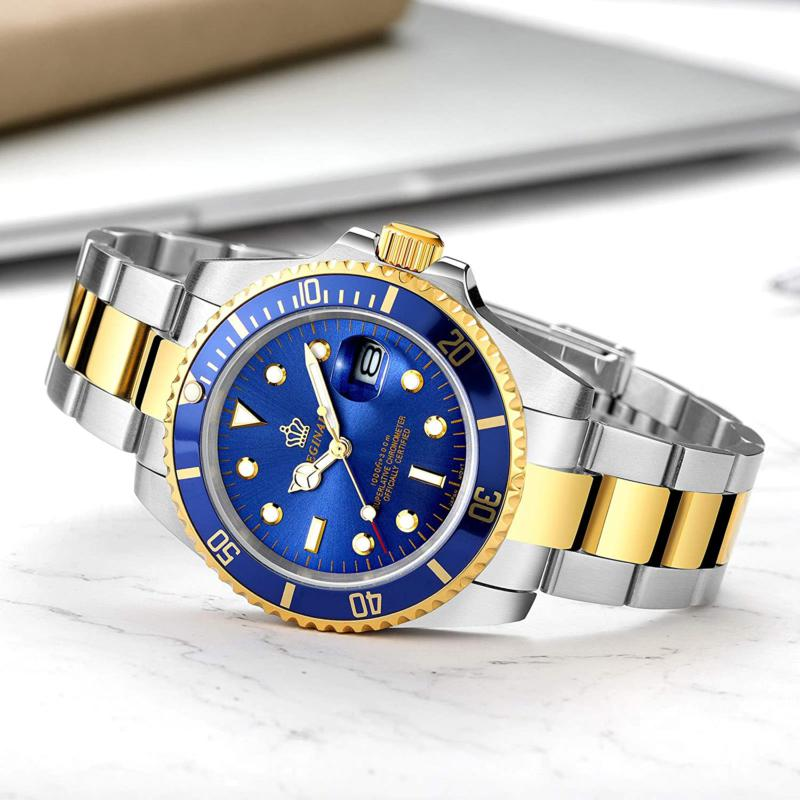 Presidential Reginald Watch, Silver Gold Blue Two Tone Stainless Steel Man Watch