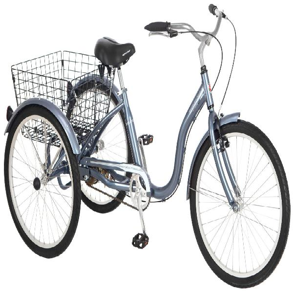 "24"" Schwinn Meridian  Tricycle, Grey Cruiser-Style Padded Sp"
