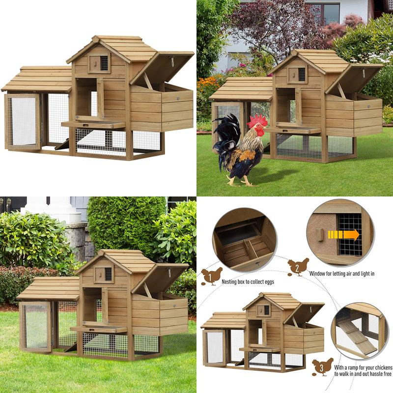 """59"""" Small Solid Wood Enclosed Outdoor Backyard Chicken ..."""