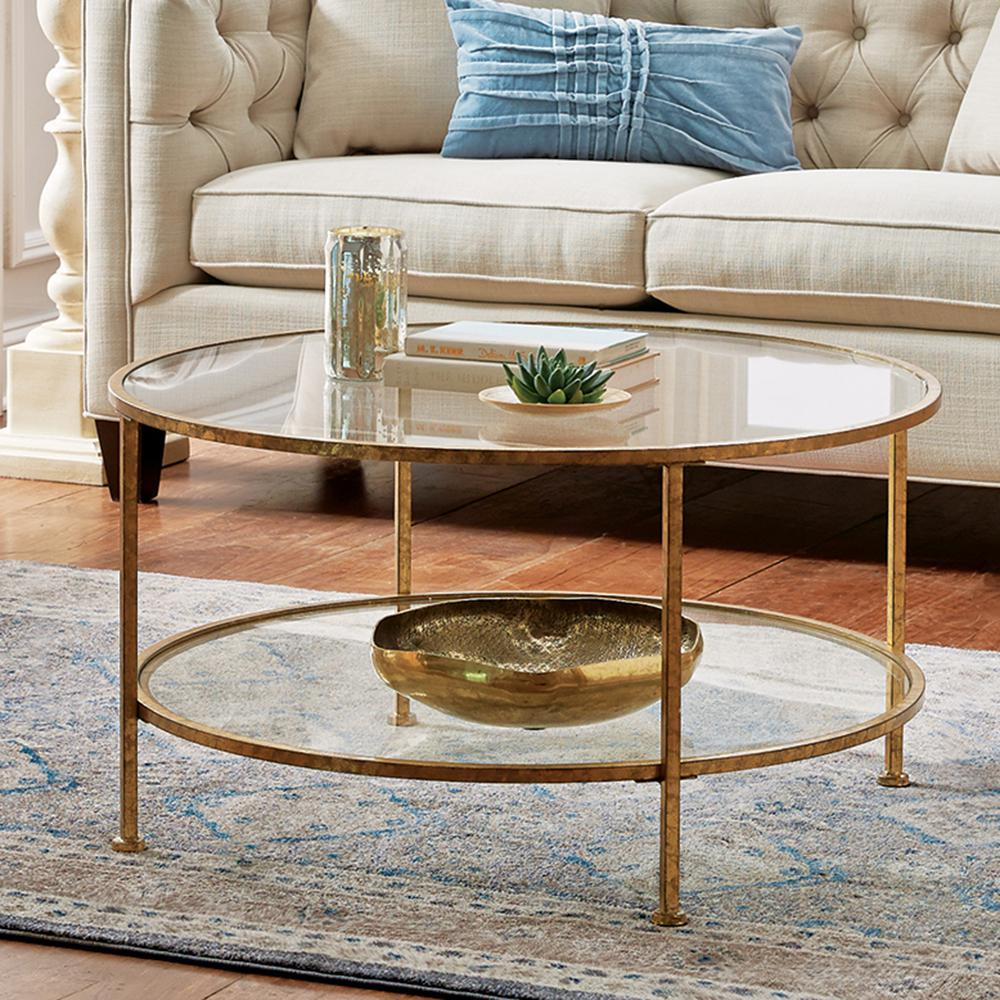 - Aged Gold Coffee Table Tempered Glass Top Metal Frame Round