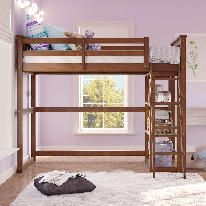 Image of: Twin Size Loft Storage Bed Frame For Kids Teen Girls Boys Bedroom Space Espresso Ebay