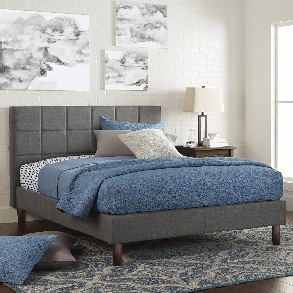 "Upholstered Platform Bed 43"" Tall & Tufted Headboard Twin/Fu"