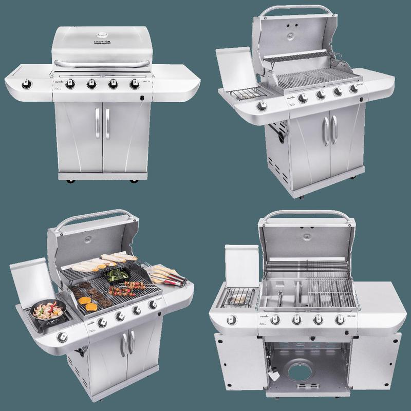 Char-Broil Advantage 4-Burner Propane Gas Grill BBQ Side ...