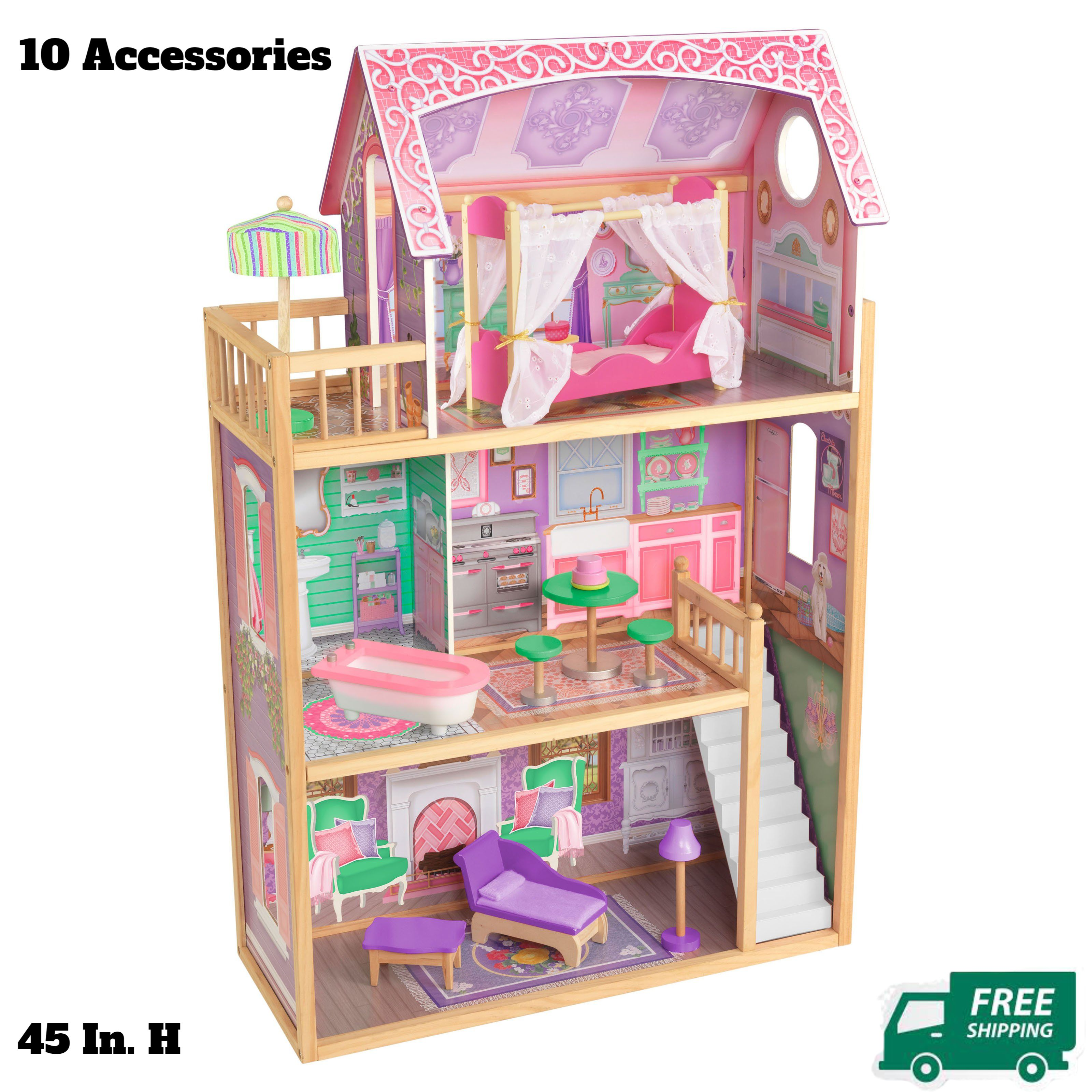 Doll House Girls Playhouse Barbie Toys Wooden Furniture 3 Levels 10 Accessories
