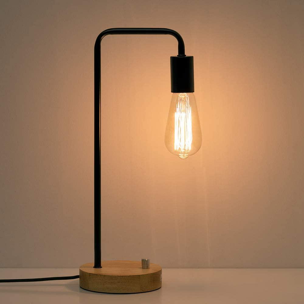 HAITRAL Industrial Desk Lamp, Vintage Edison Bulb Table Lamp