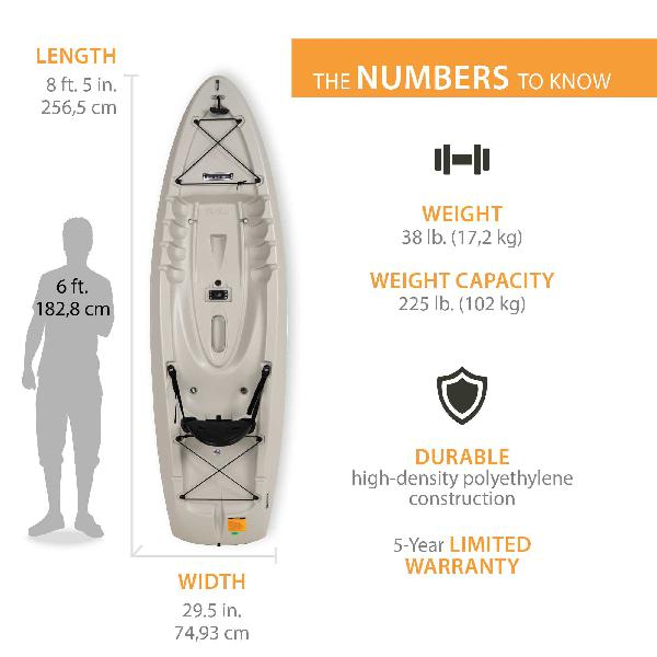recreational 8ft kayak with paddle sit on