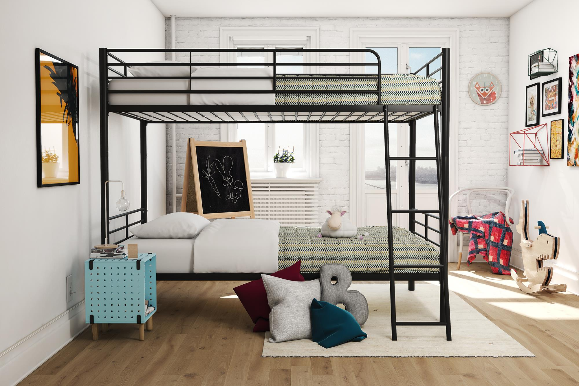Bed Twin Over Twin Convertible Bunk Bed With Railings Converts To 2 Twin Beds Ebay