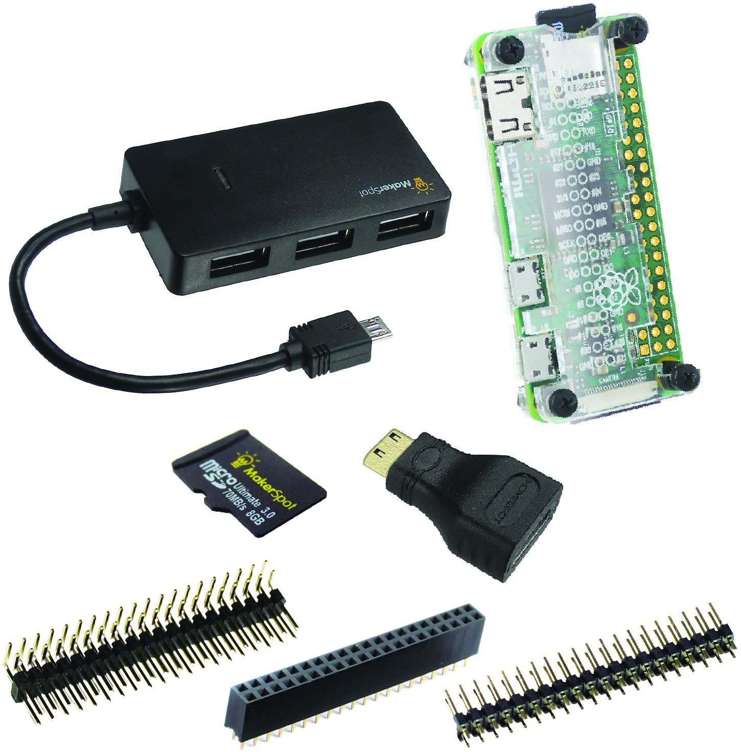MakerSpot 7-in-1 Raspberry Pi Zero W Mega Pack  with 8GB Mic