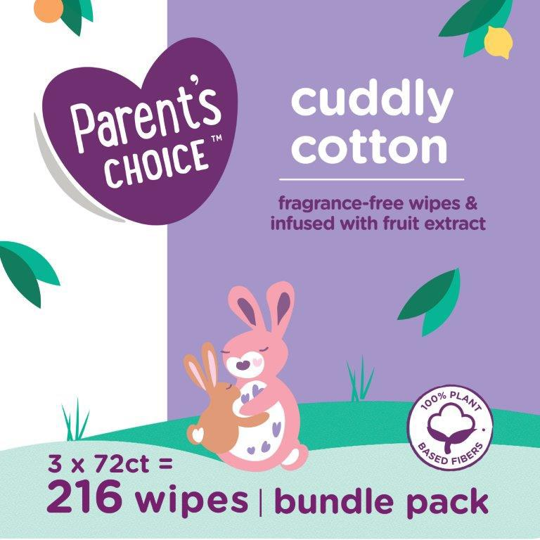 Parent's Choice Cotton Wipes, 3 packs of 72