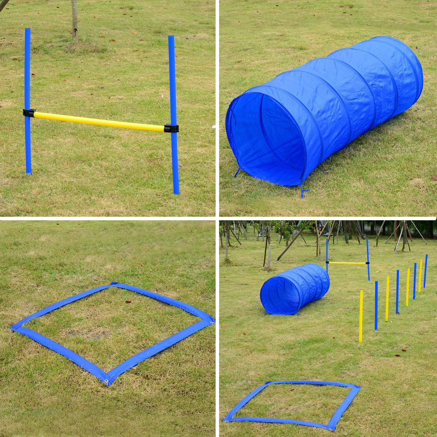 PawHut 4PC Obstacle Dog Agility Training Course Kit