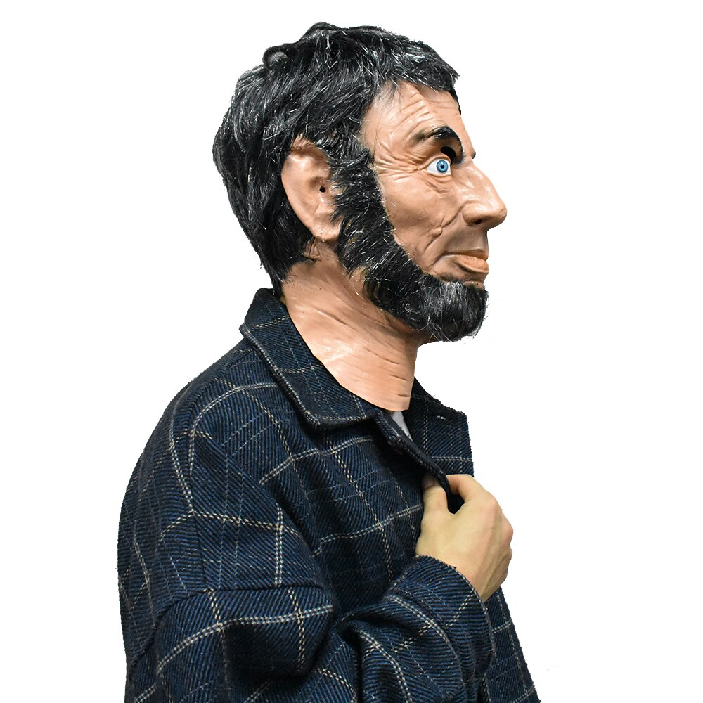 Realistic-Lincoln-Party-Abraham-Mask-Man-Costume-Latex-Mascara-Full-Face-with-Re thumbnail 4