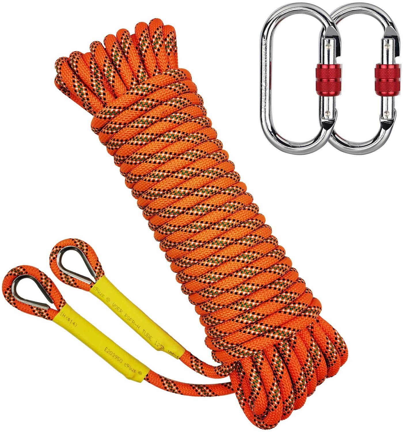 10//20M Tree Rock Climbing Rope Polyester Cord 2 Carabiners Outdoor Emergency Use