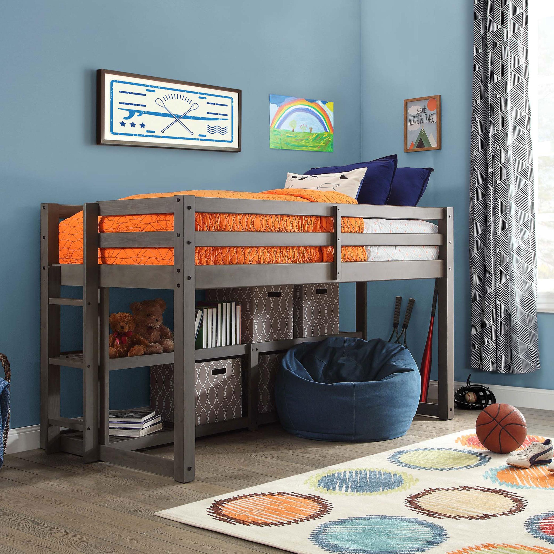 Twin Bed Storage Wood Frame Bunk Bedroom Kids Ladder Shelves Various Finishes Ebay