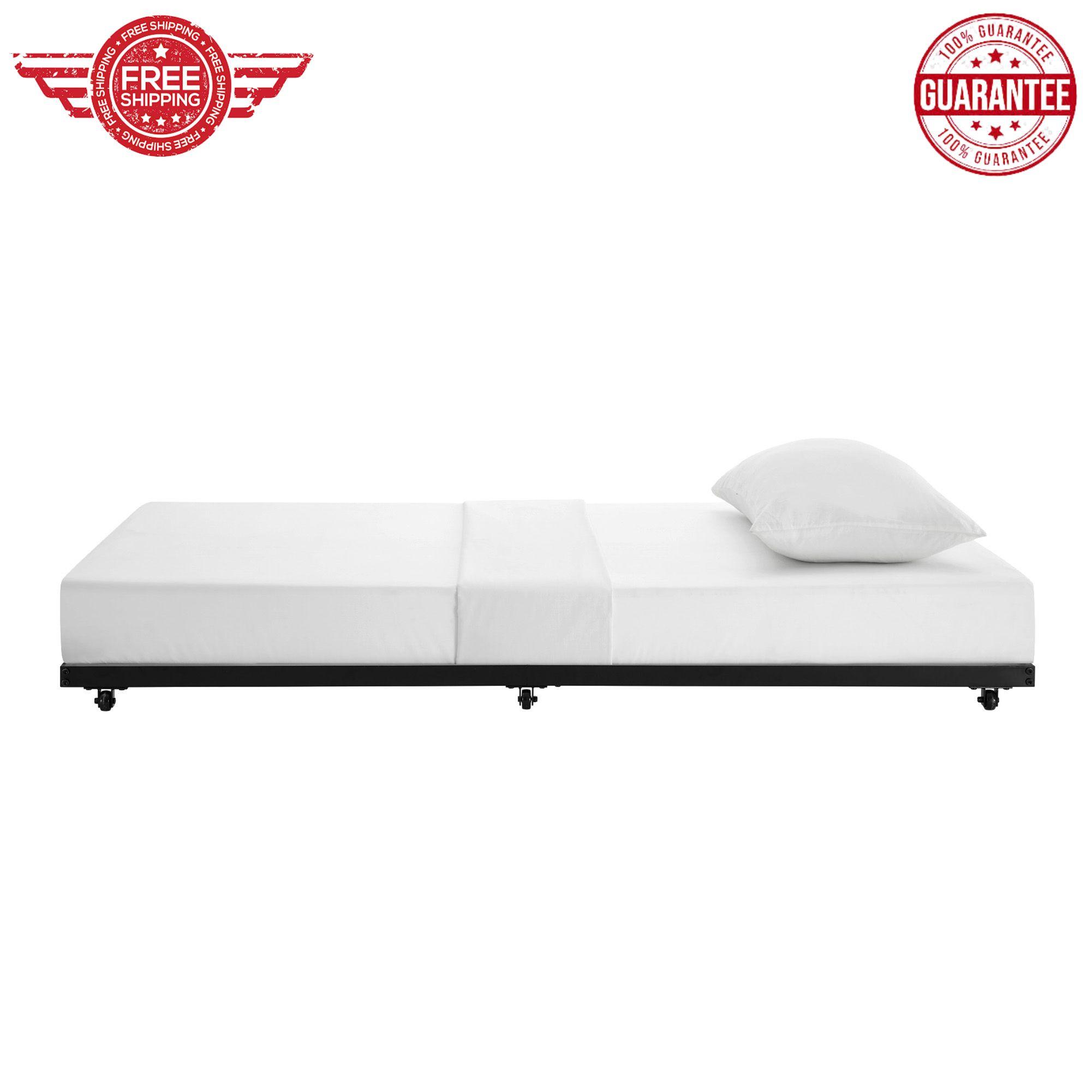Image of: Twin Size Metal Bed Frame Roll Out Black Kids Trundle Frame Storage Bedroom Ebay