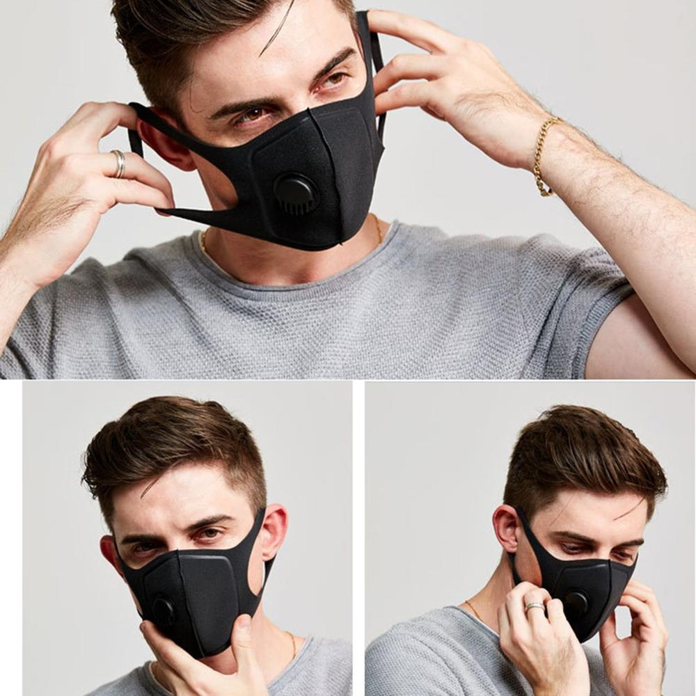 Waterproof-polyester-fiber-protective-black-plastic-mask-with-breathing-valv thumbnail 3