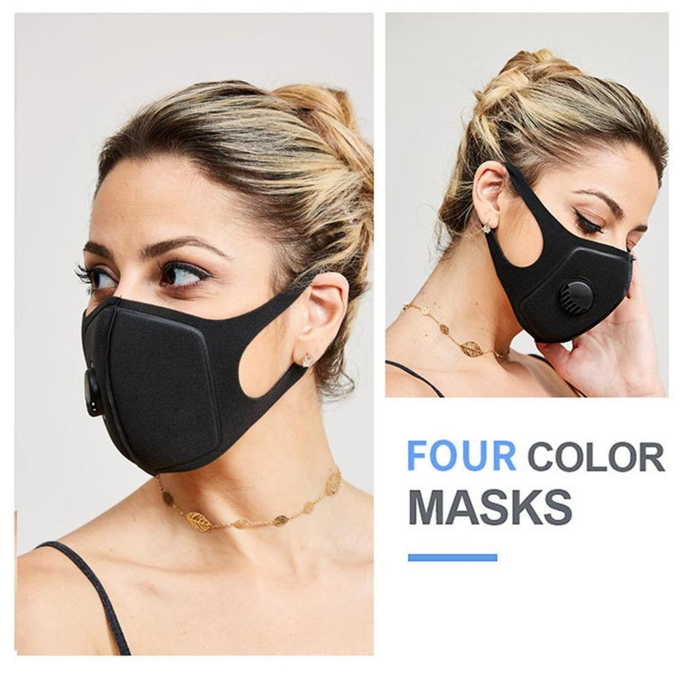 Waterproof-polyester-fiber-protective-black-plastic-mask-with-breathing-valv thumbnail 2