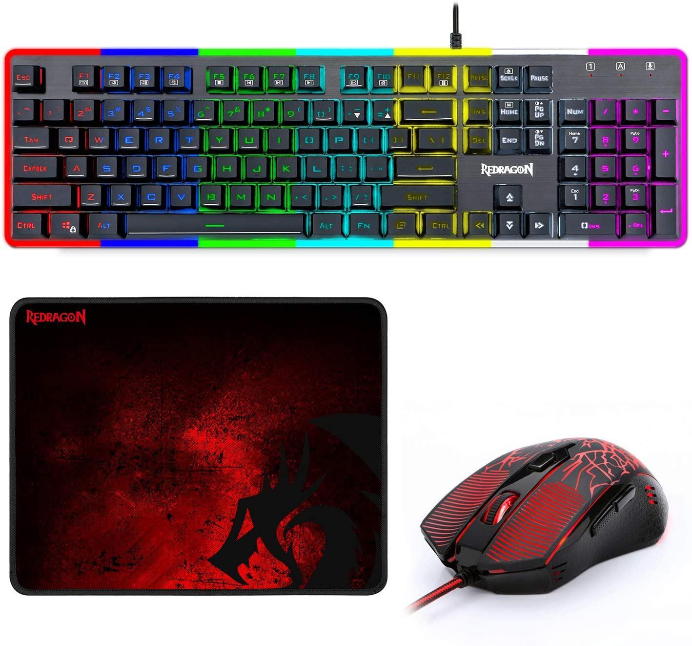 Rainbow Gaming Keyboard And Mouse Set RGB Backlit & Edge Sid