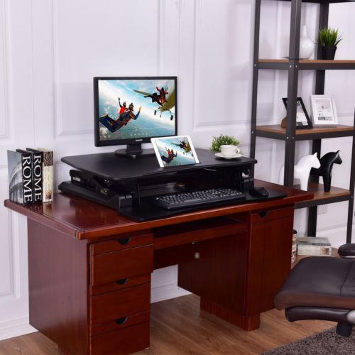 adjustable desk workstation standing up computer height
