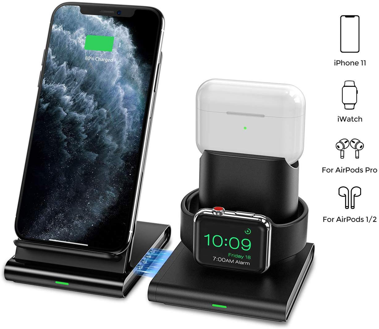 Seneo Wireless Charger 3 In 1 Wireless Charging Station For Apple Watch Airpod Ebay